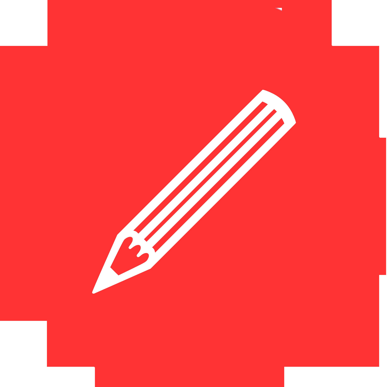 Logotyp, röd cirkel med penna i vita konturer