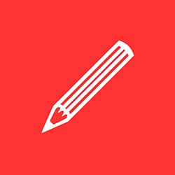 Logotyp för Evas skrivskola – vit penna mot röd bakgrund