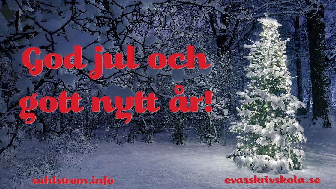 Snöpudrad, lysande julgran i snöig, mörk skog med texten God jul och gott nytt år, sahlstrom.info, evasskrivskola.se