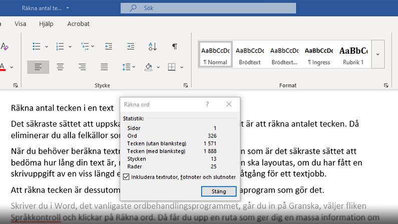 Skärmdump på ett öppet Worddokument med dialogrutan för räknaren av tecken, ord och stycken öppen.